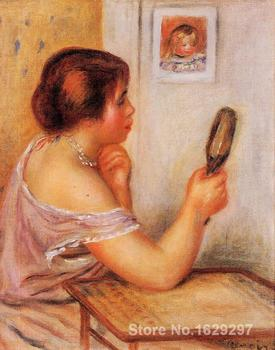 modern art gallery Gabrielle Holding a Mirror with a Portrait of Coco Pierre Auguste Renoir painting High quality Hand-painted