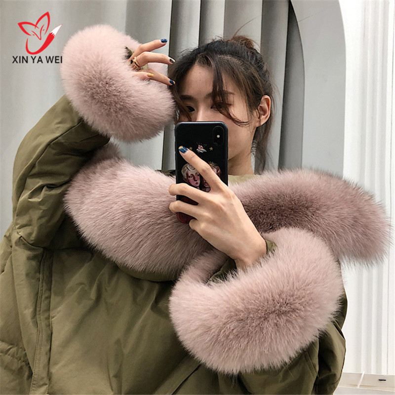 Nature Genuine Fox Fur Collar Cuff Oversize Real Fox Fur Boot Cuff Sleeves For Women Winter