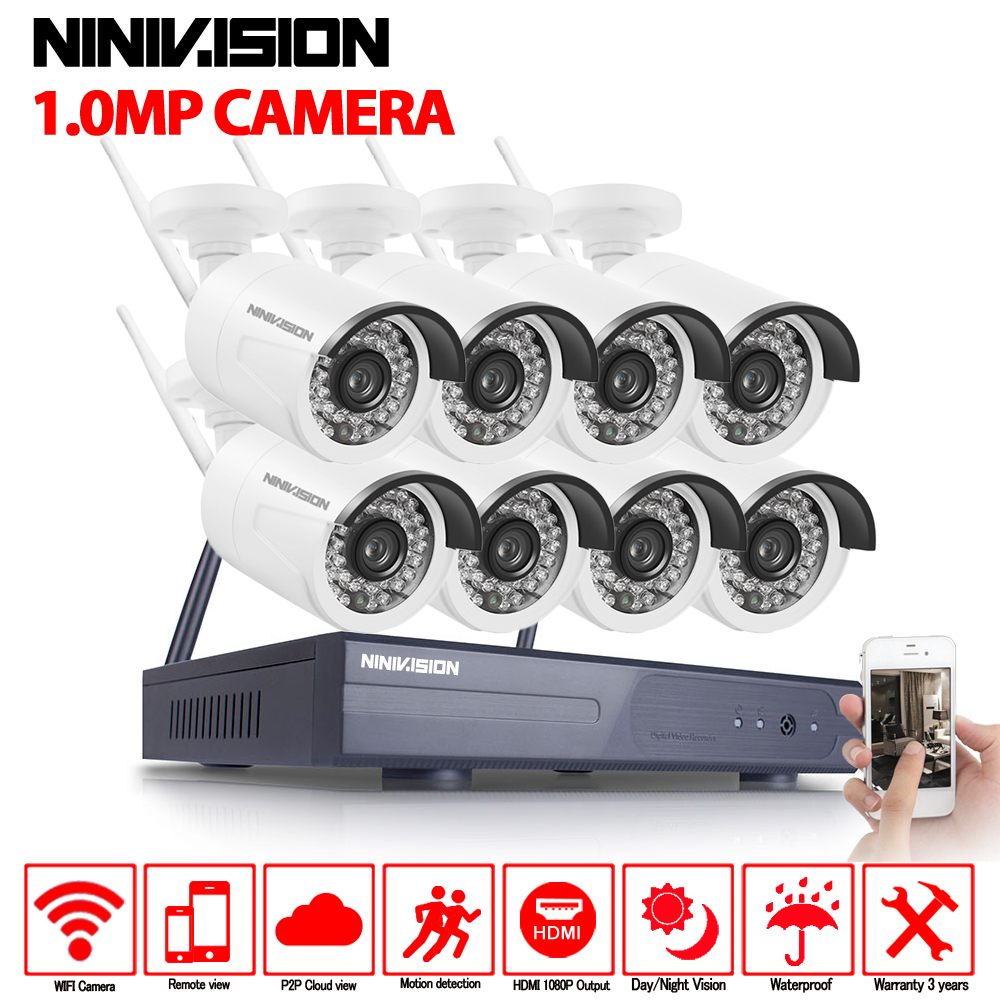 1080P Wireless CCTV System 1.0MP 8ch HD wi-fi NVR kit 720P Outdoor IR Night Vision IP Wifi Camera Security System Surveillance