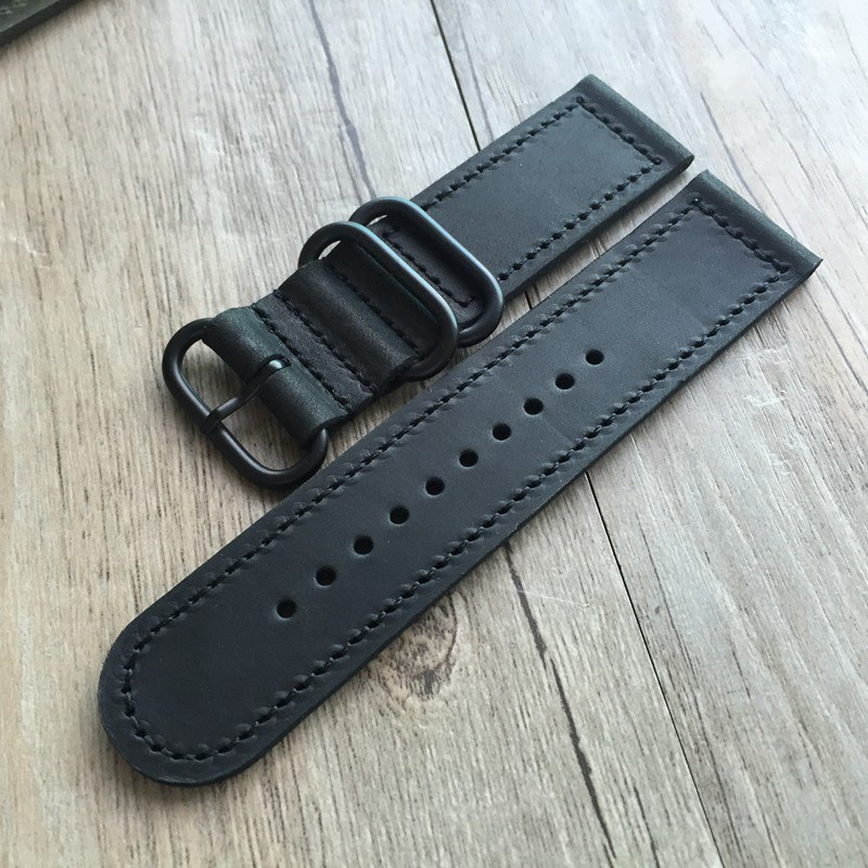 New Handmade Classic 18mm 20mm 22mm 24mm Brown Green Yellow Black Genuine leather Strap Watchbands For PAM DZ DW Watch Wristband tjp handmade classic 18mm 20mm 22mm 24mm brown green khaki black nato genuine crazy horse leather sport pilot watch bands strap