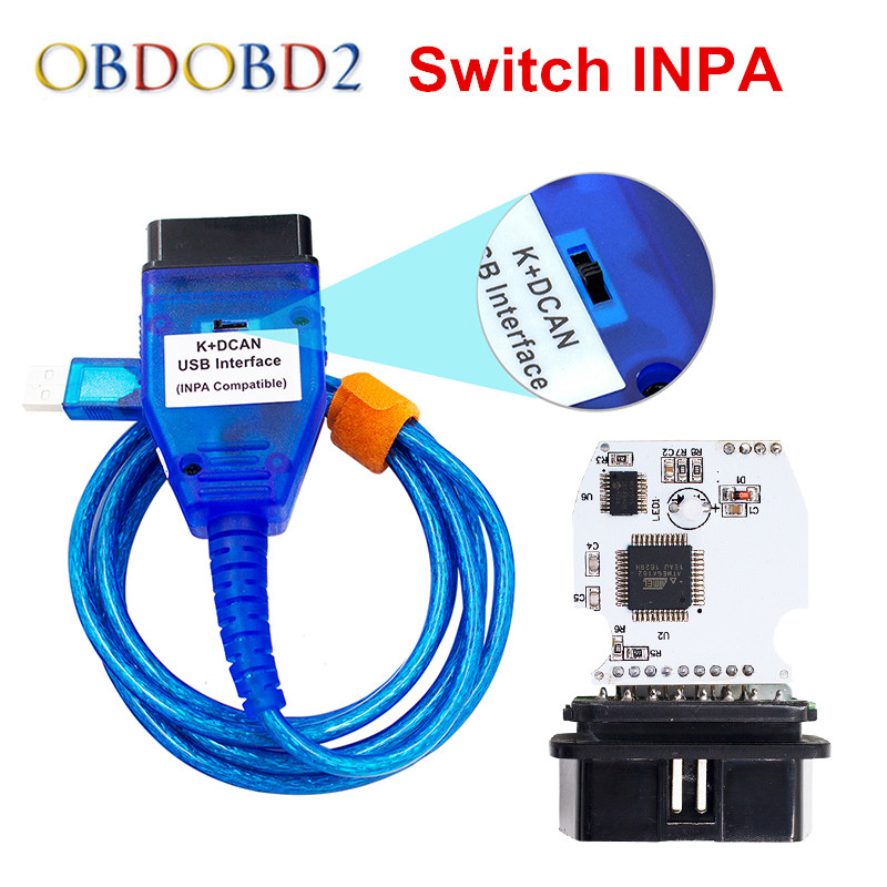 Meilleur Pour BMW INPA K + CAN Ediabas K DCAN Interface Pour BMW Série Avec Interrupteur FT232RL Puce K DCAN USB Câble Vert PCB Conseil