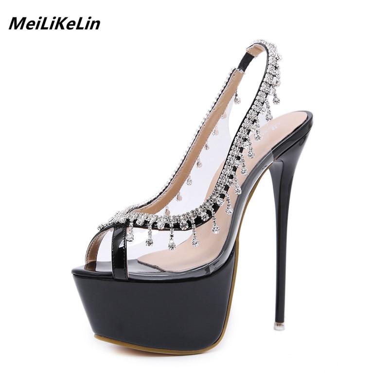 Fetish 2018 luxury Rhinestone women pumps Super high heels 16 CM Stiletto  heel ladies transparent wedding women shoes sandals - aliexpress.com -  imall.com 125c87527585