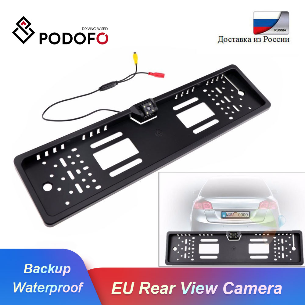 Podofo EU Car License Plate Frame Car Rear View Camera European Waterproof Auto Car Reverse Backup Rearview Parking Camera