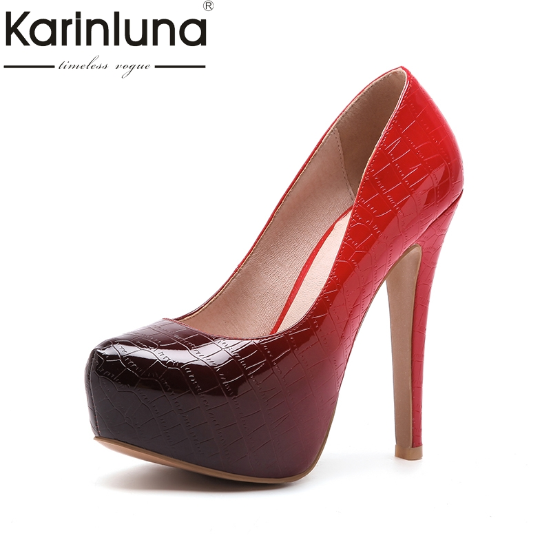 KarinLuna 2018 fashion large size 33-44 slip on thin high Heels women pumps woman platform Party wedding Pump Shoes Woman lapolaka 2018 high quality large size 33 48 slip on thin high heels peep toe shoes woman platform party wedding pump
