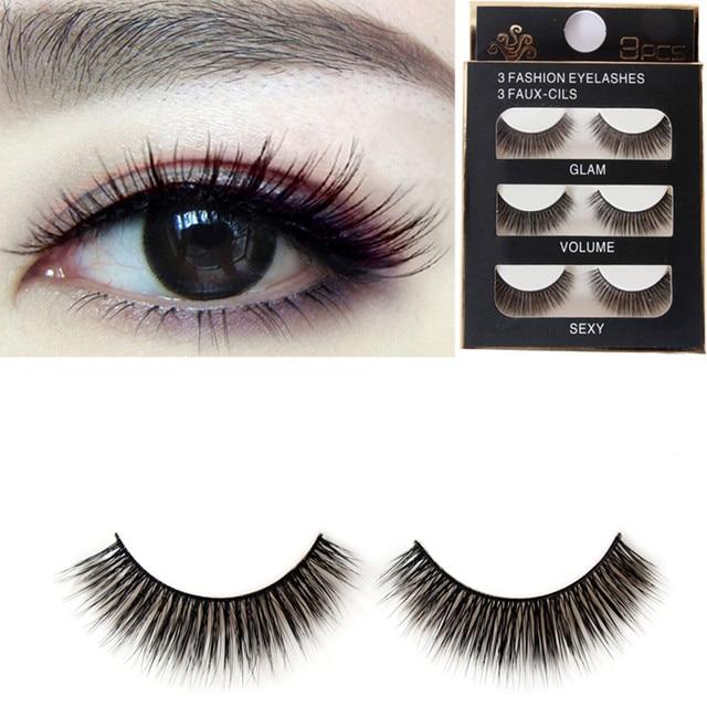 0193e5032e5 2016 Fashion Eyelashes 3 Faux-Cils Naturels Glam Volume Sexy 3D Handmade  False Fake Eye Lashes Extension 3 Pairs/Lot Womens