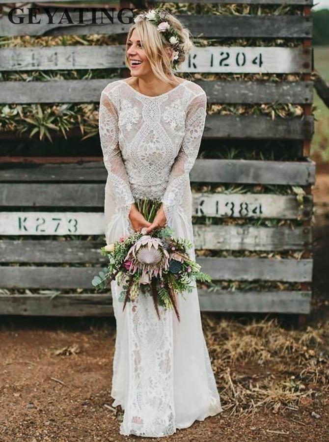Long Sleeve Boho Vintage Wedding Dresses