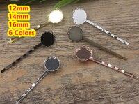 Cabochon 12mm, 14mm, 16mm Spitze pad Fach Haarspangen Antike Bronze/Gold/Silber/schwarz Haar Bobby Pin clip, Schmuck Zubehör 100 stücke