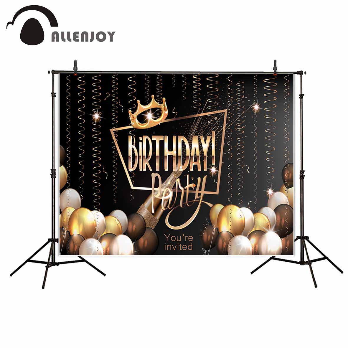 Allenjoy vinyl photographic background Ball Ribbon Birthday Crown Custom Party new backdrop photocall photo printed customize photographic studio background white clouds blue dinette chinese style new born professional xmas photocall background pictures