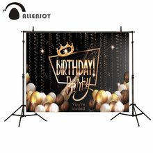 Allenjoy vinyl photographic background Ball Ribbon Birthday Crown Custom Party new backdrop photocall photo printed customize(China)