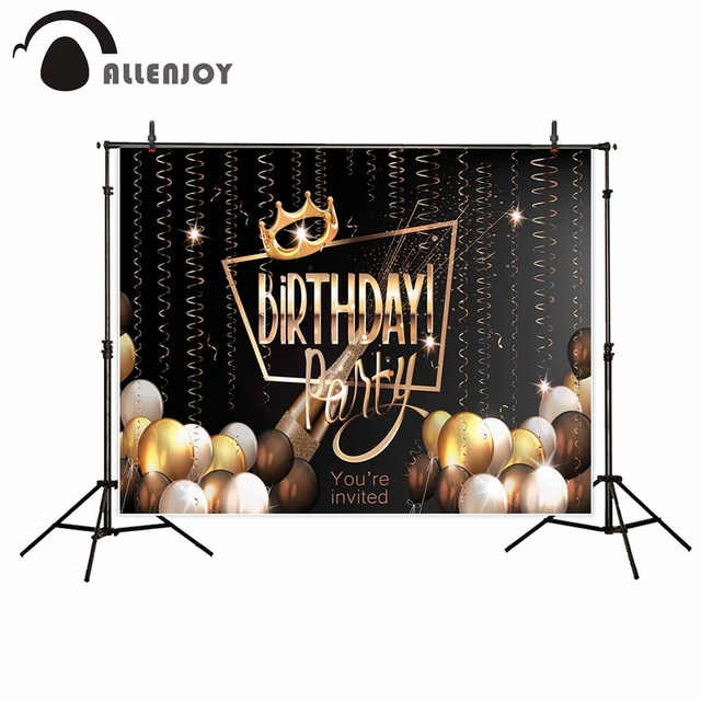 Allenjoy vinyl photographic background Ball Ribbon Birthday Crown Custom Party new backdrop photocall photo printed customize