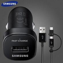 Samsung Galaxy Note9 S9 S8 plus быстрое автомобильное зарядное устройство 18 Вт 9V2A Micro USB кабель 2 в 1 usb type C кабель Note8 S7 S9plus Note8
