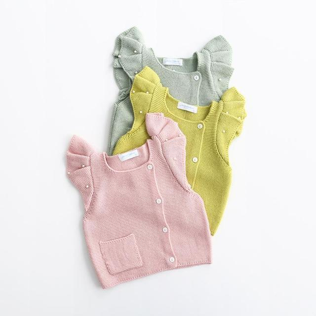 2016 Bebés del Color Del Caramelo de Punto Chaqueta de Punto Dulce de La Manera Niños de Punto Outwear Abrigo Primavera/Otoño Chaleco