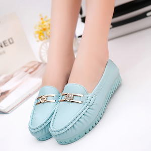 Image 2 - Summer Soft Leather Loafers Women Shoes Blue Black Pink Slip On Casual Shoes Women Flats Moccasin White Nurse Shoes Ladies Flats
