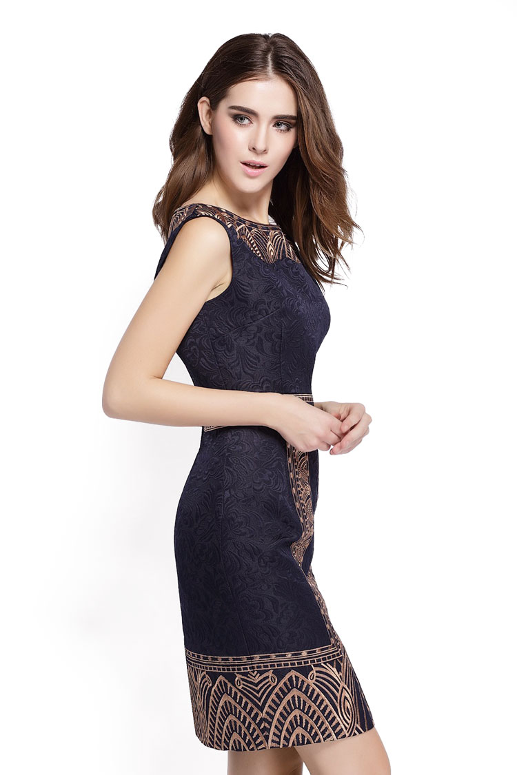 Embroidery Print Sleeveless Slim Waist Office Dress 3