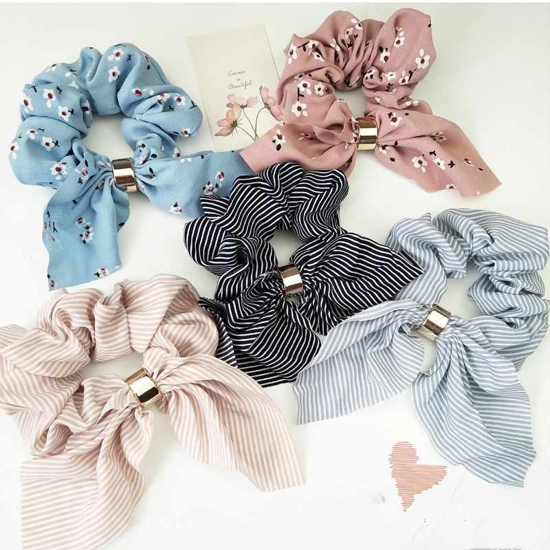 Floral Elastic hair Bands Women Ponytail Holder Striped Hair Scrunchies Bowknots Metal Holder Dresses for Girls Christmas Gift