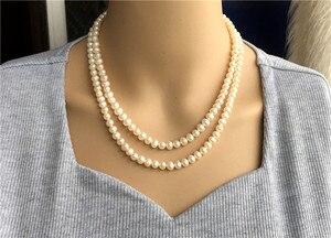 Image 2 - Ręcznie tkane 45 50 cm naturalne 7 7.5mm białe słodkowodne perły podwójny naszyjnik moda biżuteria