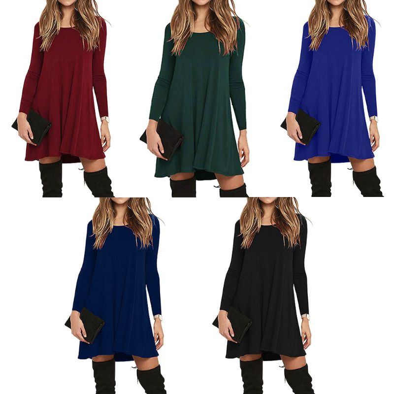 0e3c17557fd Womens Autumn Winter Long Sleeve Basic Pleated T-Shirt Dress Solid Color  Round Neck With Two Side Pockets Knee Length Loose
