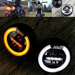 6.8 Inch Gn Retro Motorcycle Cafe Racer Gemodificeerde Koplamp Head Lamp Led Turn Licht Motor Accessoires