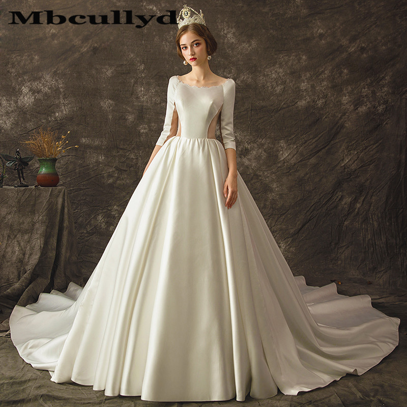 Mbcully Princess Satin Wedding Dresses 2019 African Black