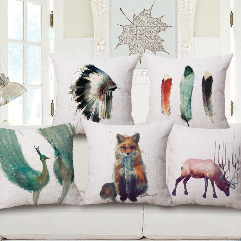 big size sofa cushion leather corner beds ireland american indian watercolor painting skull feather ...