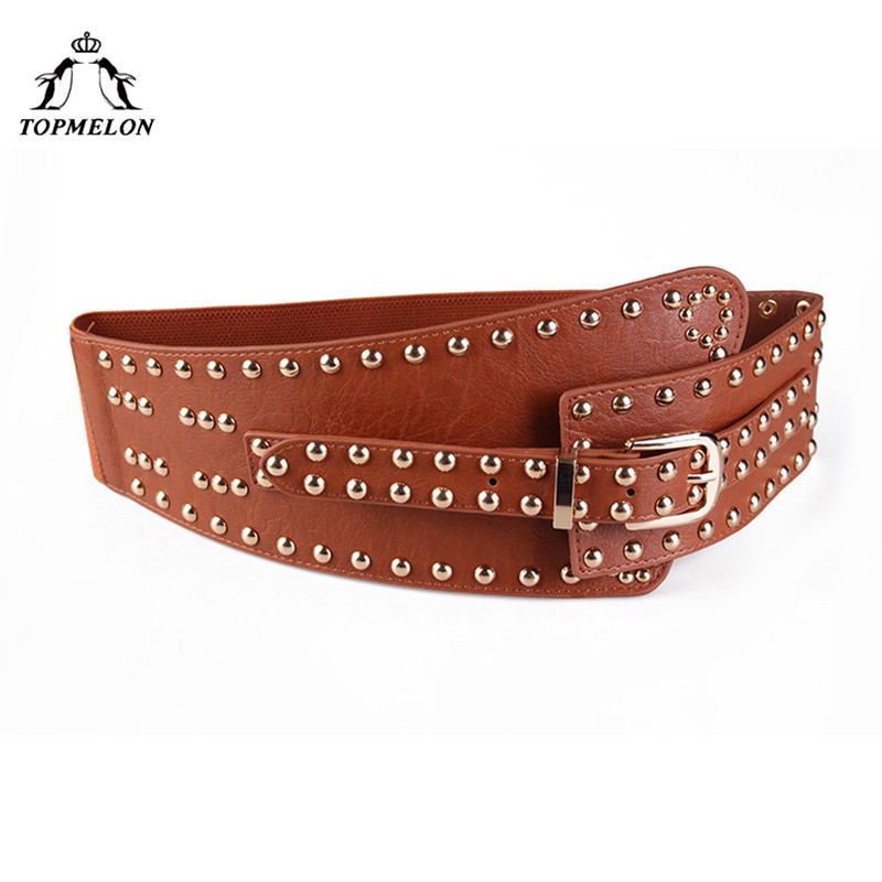 TOPMELON Modeling Strap Belly Slimming Belt Steampunk Accessories Tummy Control Gothic Leather Rivet Lace Up   Corset   Belts