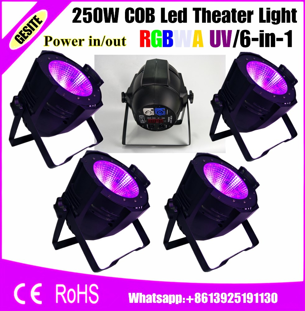 4pcs/lot 200 Watt cob Wash Par 250W RGBWA+UV 6IN1 COB LED Par 64 free shipping 4pcs lot 200w 6in1 rgbwa uv cob led par light black with barndoor with dj stage dmx cob led par lighting