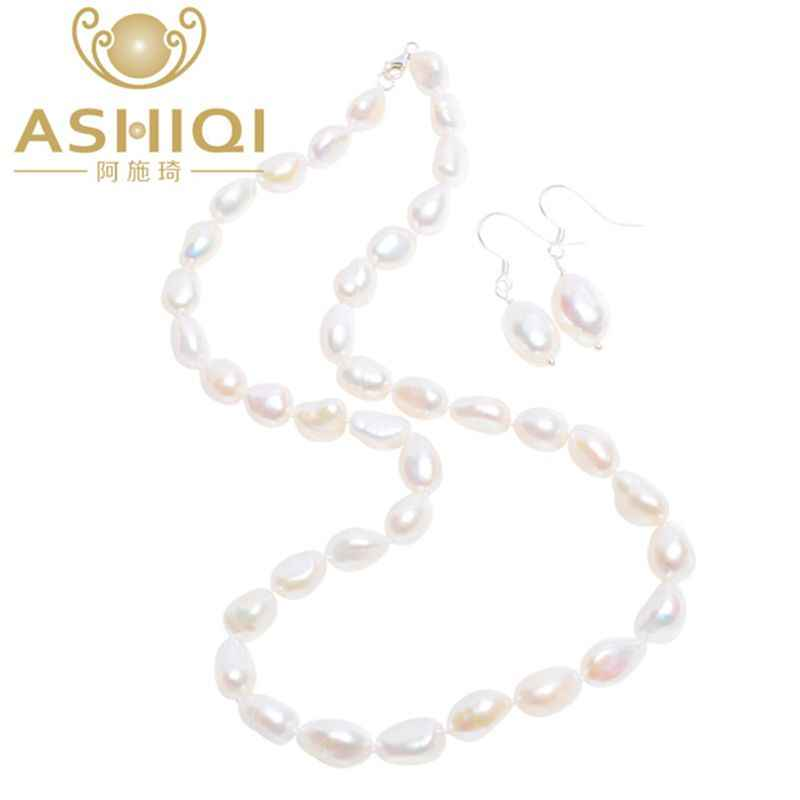 ASHIQI Baroque Natural Freshwater pearl Jewelry Sets Real pearl Necklace Solid 925 Sterling Silver Earrings for women New