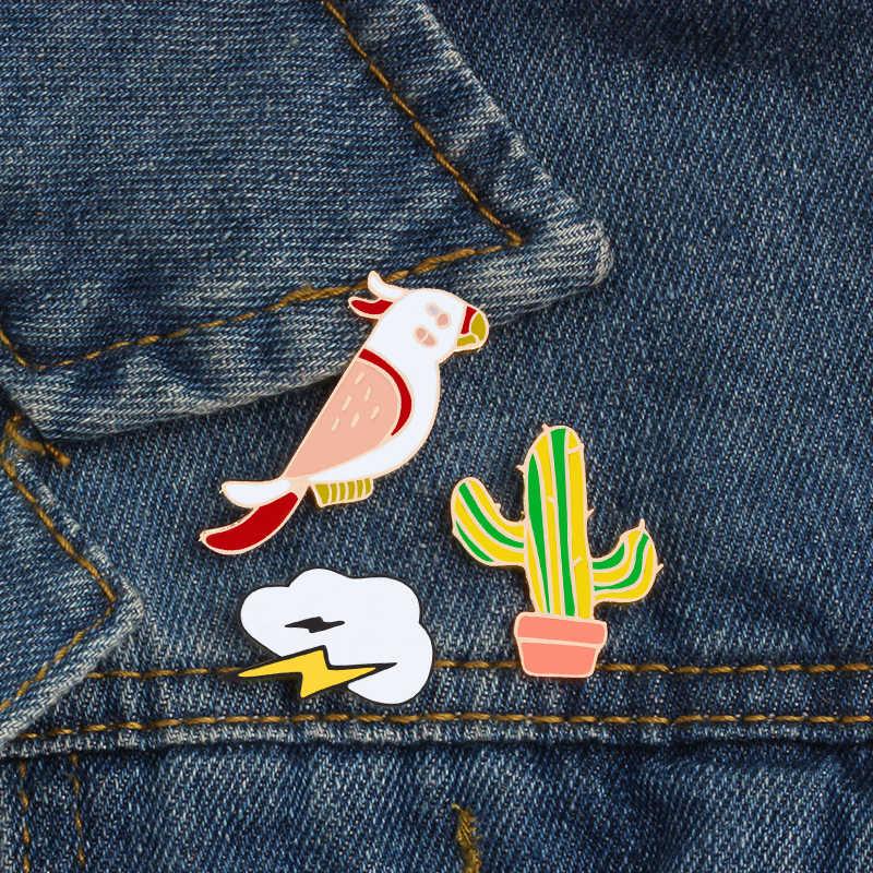 2-5 teile/satz Cartoon Pflanzen Baum Kaktus Blätter Brosche Kaninchen Hund Flamingos Frauen Jacken Kragen Emaille Pin Nette Schmuck abzeichen Geschenk