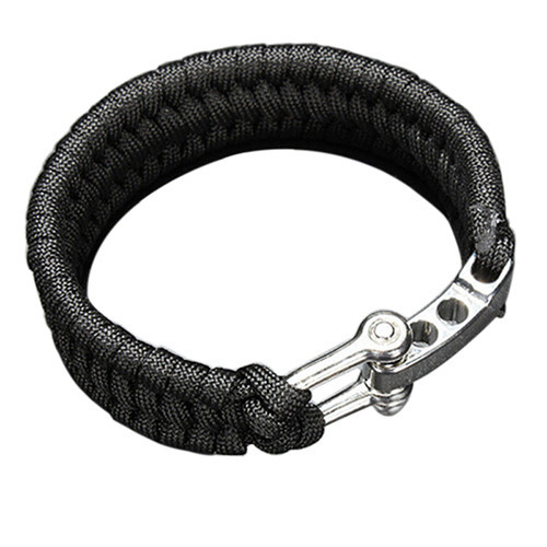 3pcs Outdoor Sports Survival Paracord Bracelets Camping Steel Shackle Buckle Parachute Cord Wristband Emergency Rope Multi Gear