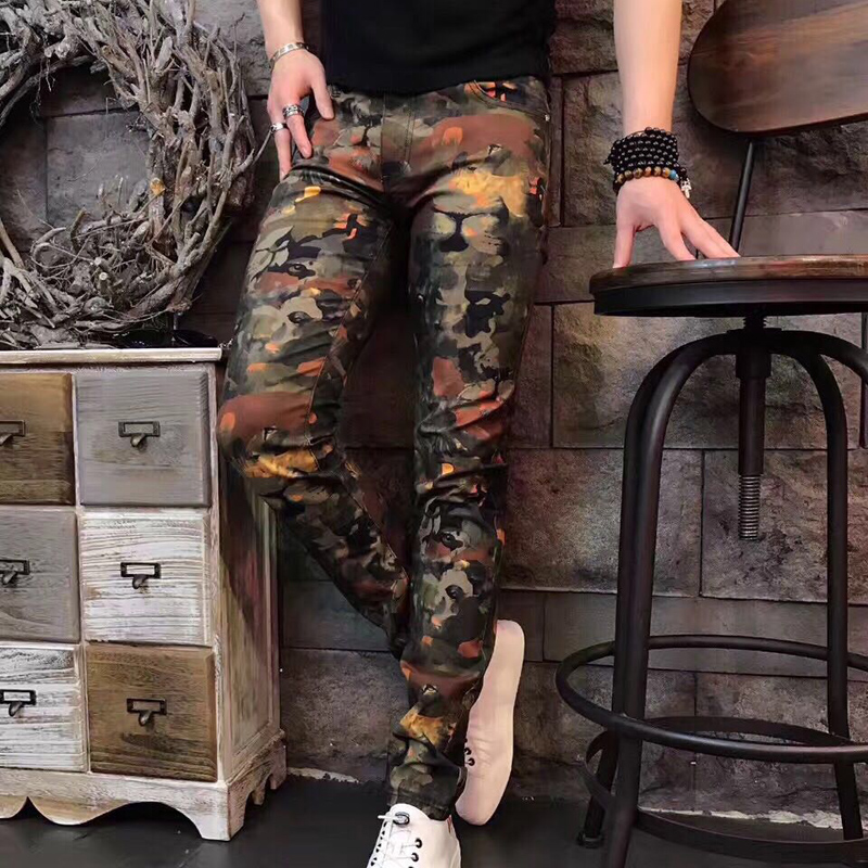 Korean style male jean pants trousers army green tide slim pants rock performance costume singer dancer show jazz DJ DS clothing