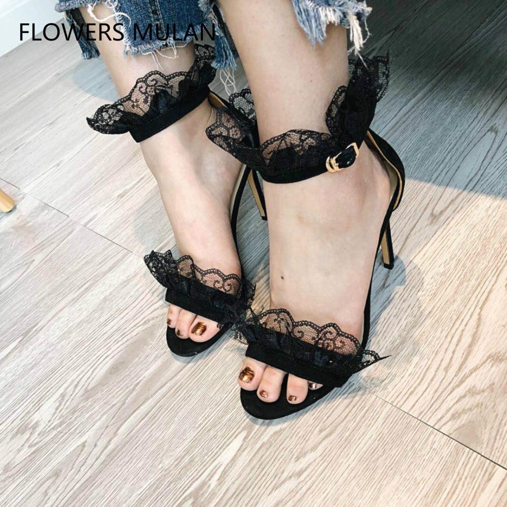 Haut de gamme en cuir véritable femmes fantaisie noir dentelle talon aiguille robe sandales Sexy volants Wrap sandales à la mode femmes chaussures de mariage