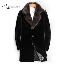 M.Y.FANSTY Shuba 2017 Winter Black Swan Velvet Mink Man Suit Collar Real Fur Single Breasted Jacket Long Causal Slim Mink Coats