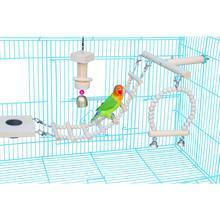 Клетка для птиц веревочная лестница T Play подставки игрушки Висячие попугай окунь платформа с кормушкой для птиц жевательный деревянный блок бусы-колокольчики игрушки