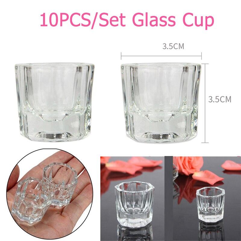 10ชิ้นแก้วคริสตัลD Appenจานชามถ้วยจานเล็บเครื่องมืออะคริลิของเหลวผงการจัดเก็บเล็บอุปกรณ์มิน...
