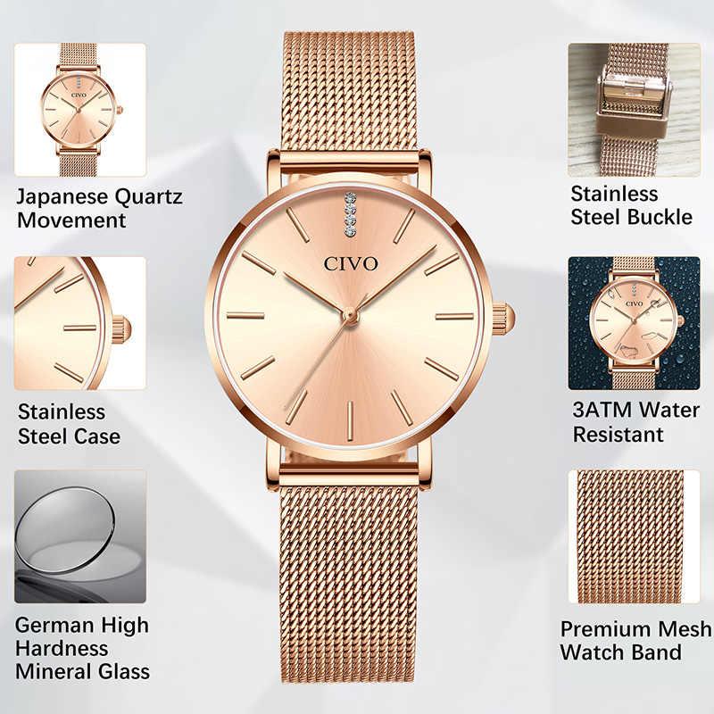 Montre ファム 2019 CIVO ファッション腕時計レディースゴールドトップブランドの高級クオーツ女性腕時計カジュアルメッシュ鋼防水カジュアル腕時計
