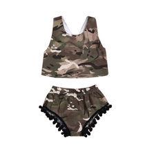 Newborn Kids Baby Girl Camo Romper Tops Vest+ Tassel Shorts Set Outfits Clothes