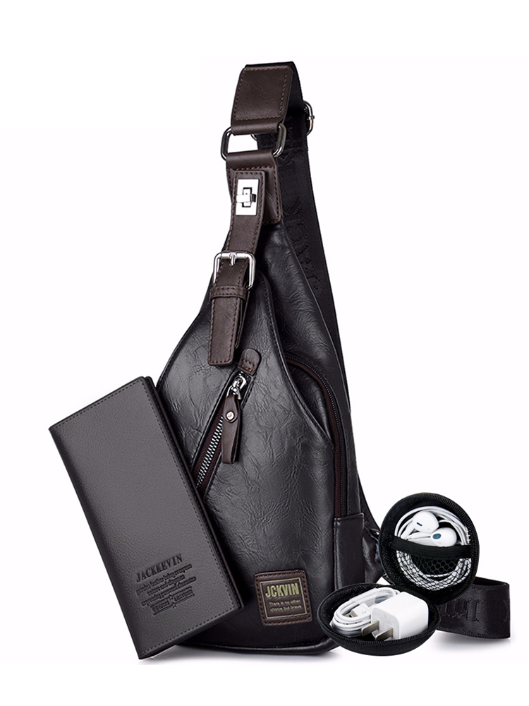 Jackkevin Crossbody-Bag Button Waist-Pack Men's Fashion Rotatable Theftproof