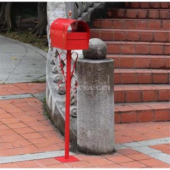 Red Security Stand Floor Mailbox Vertical Bar Postbox Metal Outdoor Letterbox Garden Park Newspaper Mail box Letter Box 12116#