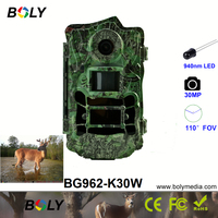Bolyguard invisible IR 110 degree true wild angle 30MP 1080P hunting trail game cameras support game call 2 inch LCD photo traps