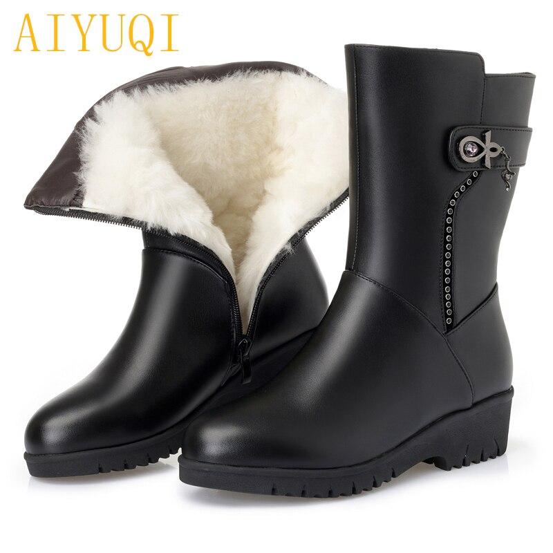 La 2019 Cuero Tamaño Nueva Aiyuqi Grueso Para Gran Botas De Genuino black Mujeres Wool Invierno Zapatos Madre 41 43 Las Lana Black Nieve Fluff 42 8q8dCIw
