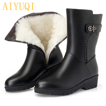 AIYUQI Women snow boots 2019 new genuine leather women flat boots thick wool, big size 41 42 43 mother winter boots shoes цена и фото