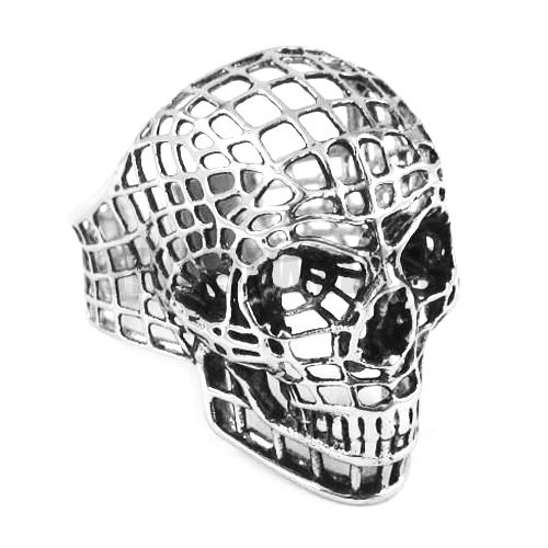 Silver, Gold Hollow Out Skull Biker <font><b>Ring</b></font> Stainless Steel Jewelry Spider Web <font><b>Spiderman</b></font> Motor Biker Men <font><b>Ring</b></font> Wholesale SWR0328