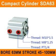 SDA63 Цилиндр SDA Серии Диаметр 63 мм Ход 45-100 мм Компактный Цилиндры Воздуха Воздуха Двойного Действия Пневматических Цилиндров ISO