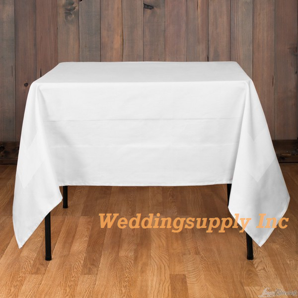 Cheap Polyester Tablecloth White Colour Banquet/Party Table Cloth(China)