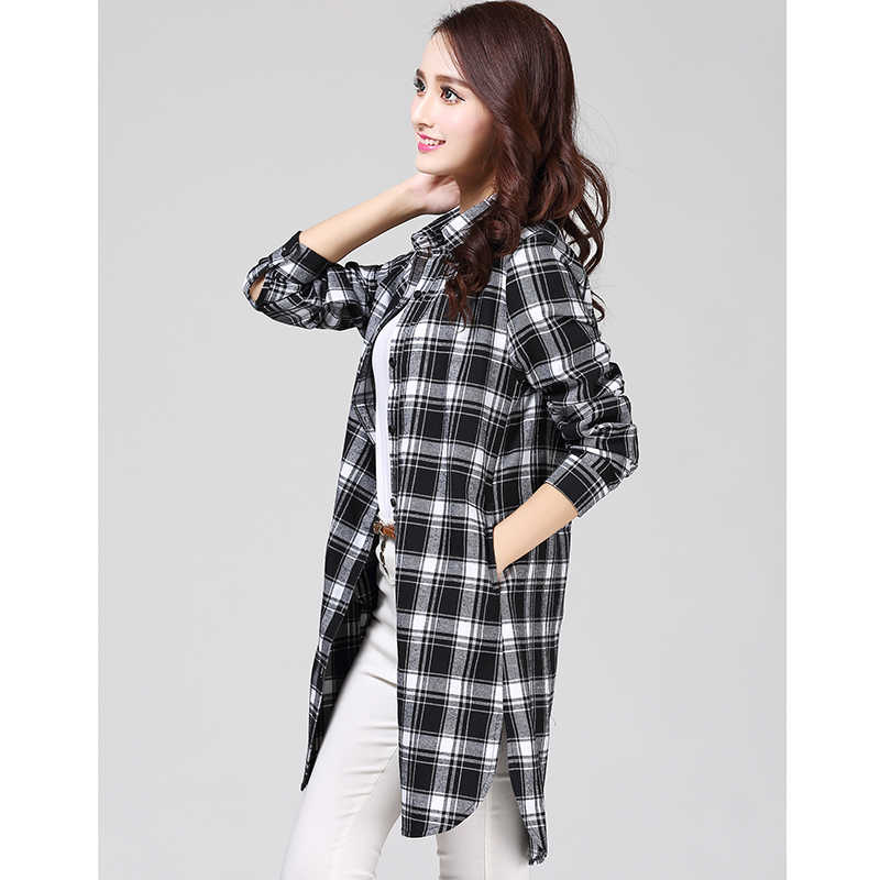 Camisa de algodón a cuadros de manga larga Irregular XXL de talla grande para mujer