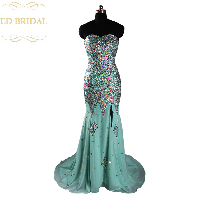Real Sample Mint Green Crystal Rhinestone Heavy Beaded Sparkly Mermaid Prom  Dress High Slit Long Formal Evening Dress 6250c7a4ce8a