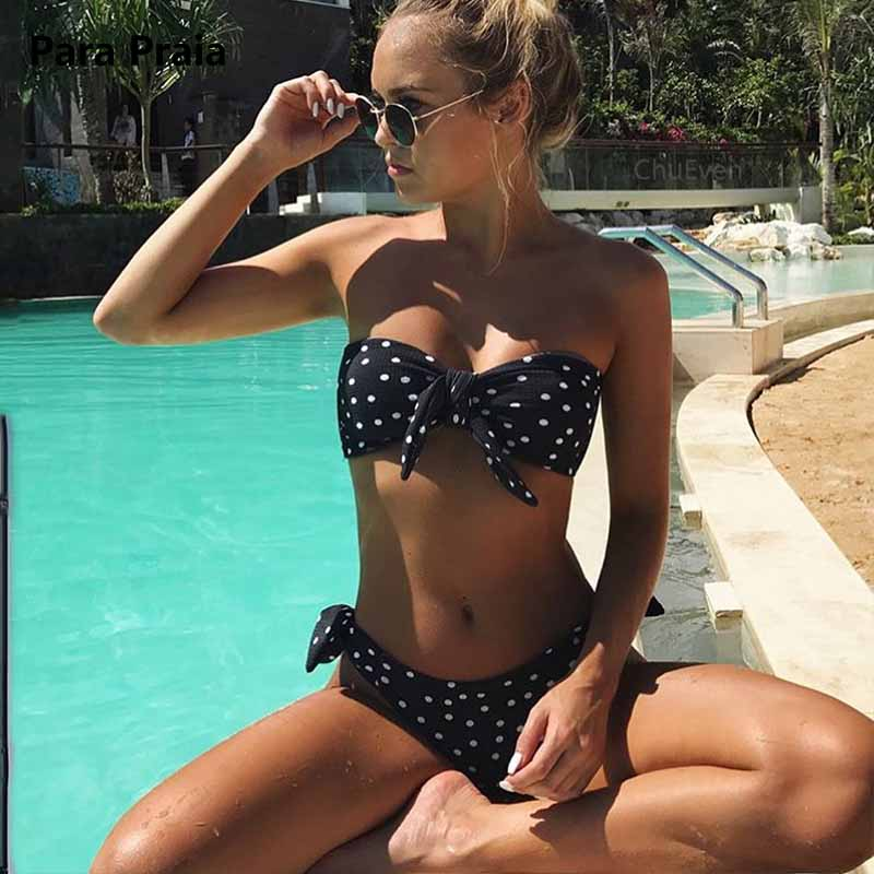 Cute Polka Dot Thong Bikini Sexy Bandeau Brazilian Bikini Set 2018 Bow Swimwear Halter Push Up Swimsuit Beach Bathing Suit May alluring halter polka dot lace up crochet bikini set for women