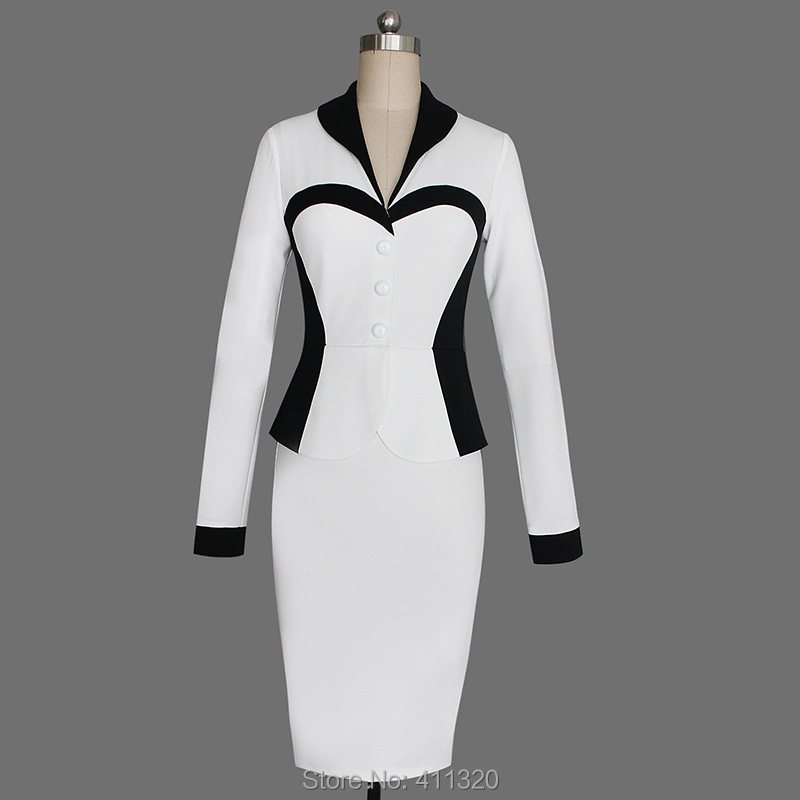 Womens Elegant Business Suits Blazer with Skirt Formal Office Uniform Designs Women Lapel Colorblock Knee Length Pencil Dress (17)