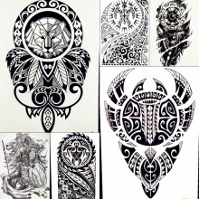 a5526159fc467 Lion King Warrior Temporary Tattoo Stickers Men Robot Arm Fake Waterproof Maori  Tattoos Body Art Black Totem Tatoo Paper