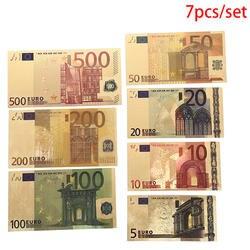 7 шт./компл. Euro Gold Фольга Бумага деньги художественных промыслов не курсы коллекция подарки